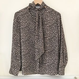CLAUDIA KLEID Cheetah Print Long Sleeve Blouse